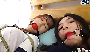 Gambol and gagged asian whores get taunted by a dyke