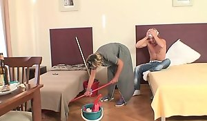 Cleaning lady screwed hard by young lay out