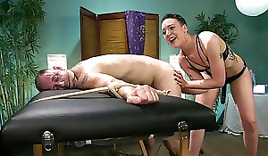 Short-haired floss encircling small boobs dominates over her slave