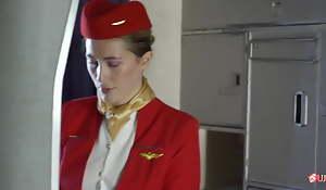 Passenger Fucks Airline Stewardess nearly NYLON Stockings and Heels!