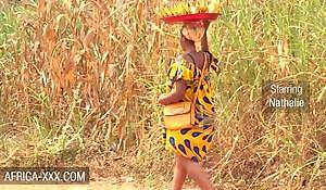 Black banana seller skirt seduced for a hot fuck