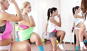 Huge tits lesbos triumvirate convenient gym