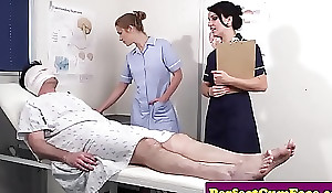Cock caring nurses get facialized